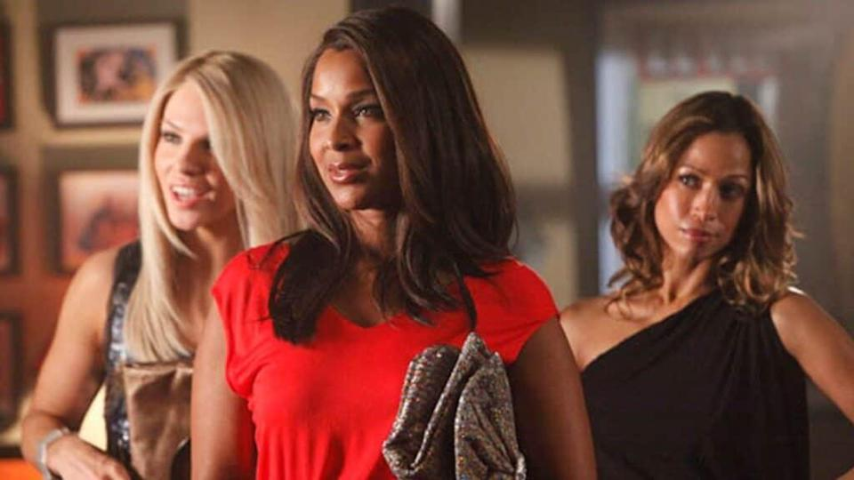 "Actresses (from left) Charity Shea, LisaRaye McCoy and Stacey Dash, portraying friends April, Keisha and Val in a scene from Season One of the now-defunct VH1 drama, ""Single Ladies."""