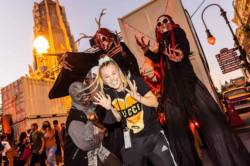 <p>scared by some skeletons at Halloween Horror Nights at Universal Studios Hollywood on Sept. 12.</p>