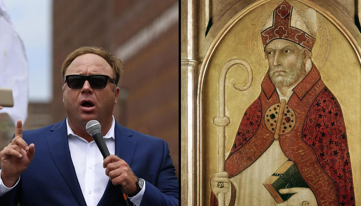 Alex Jones from Infowars.com and St. Augustine. (Photo combination: Yahoo News; photos: Lucas Jackson/Reuters, Universal History Archive/Getty Images)