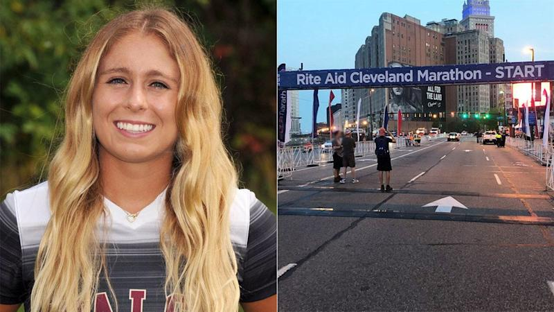 Taylor Ceepo (pictured left) died during the Rite Aid Cleveland Marathon. (Images: @WalshCavaliers/@clevelandmarathon)