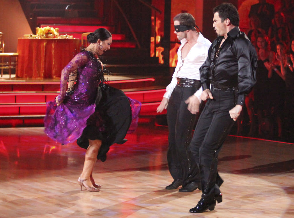 "Cheryl Burke, William Levy and Tony Dovolani perform on ""Dancing with the Stars."""