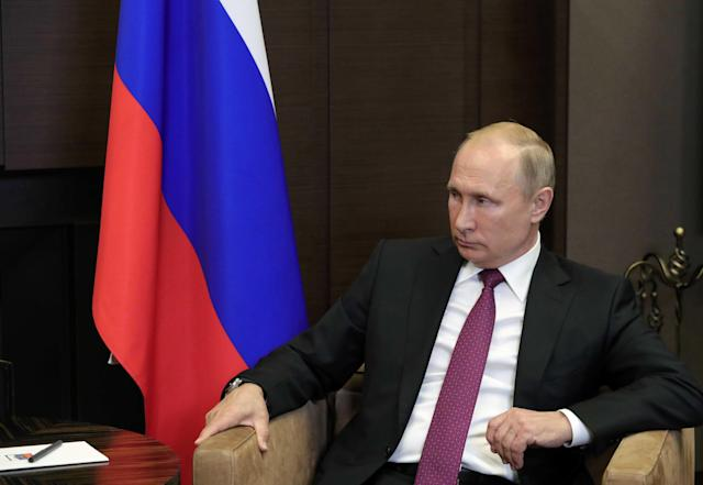 Russian President Vladimir Putin attends a meeting with Syrian President Bashar al-Assad in the Black Sea resort of Sochi, Russia May 17, 2018. Sputnik/Mikhail Klimentyev/Kremlin via REUTERS ATTENTION EDITORS - THIS IMAGE WAS PROVIDED BY A THIRD PARTY.