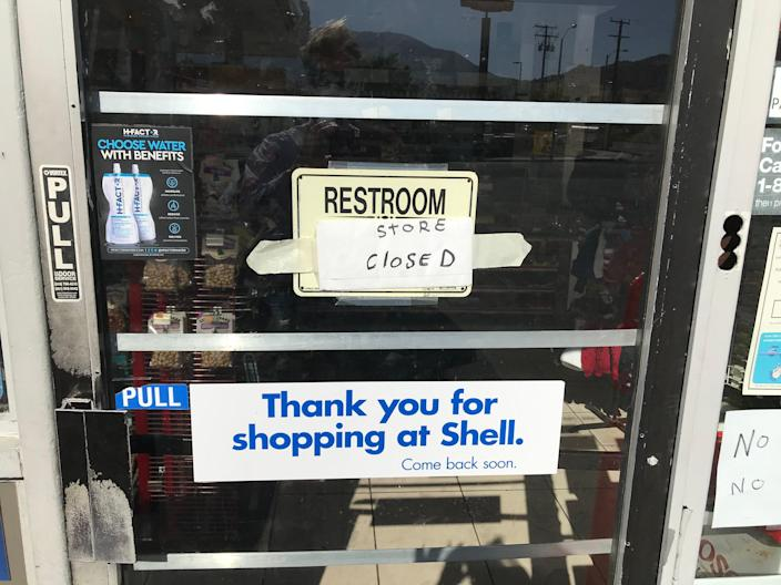 The restroom, along with the mini-mart, is closed at a Shell gas station in Gorman, California