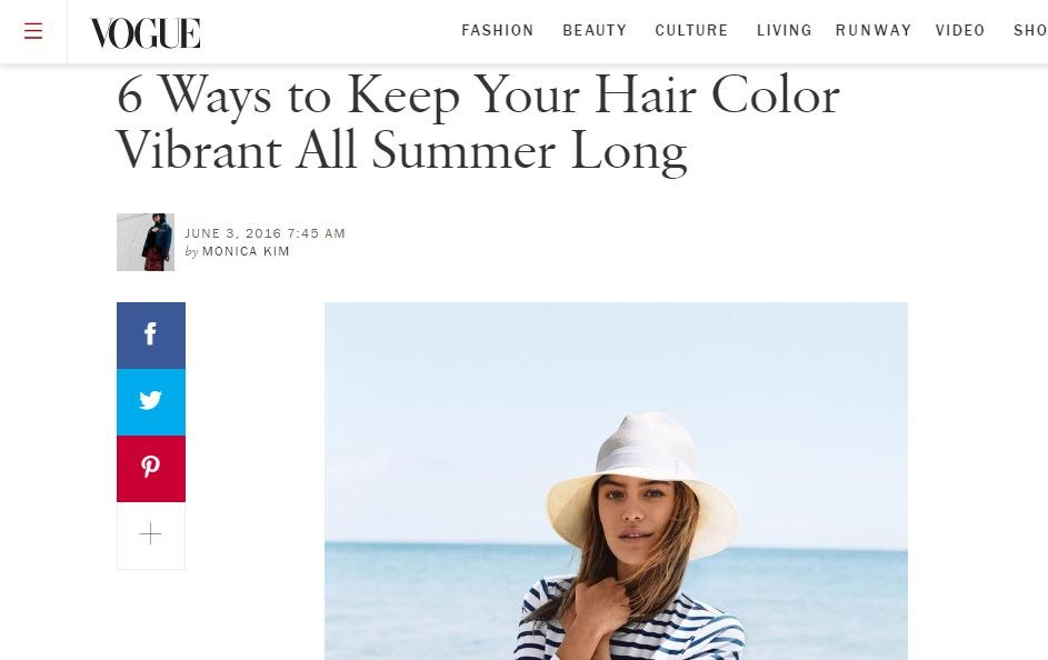 """Summertime means chlorine and sunshine, which are hair color's biggest enemies. <a rel=""""nofollow"""" href=""""http://www.vogue.com/article/how-to-keep-hair-color-dye-from-fading"""">Learn how to keep your hair color</a> in these tricky summer conditions."""
