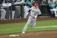 Los Angeles Angels' Shohei Ohtani rounds the bases after hitting a solo home run in the second inning of a baseball game against the Seattle Mariners, Thursday, Aug. 6, 2020, in Seattle. (AP Photo/Ted S. Warren)