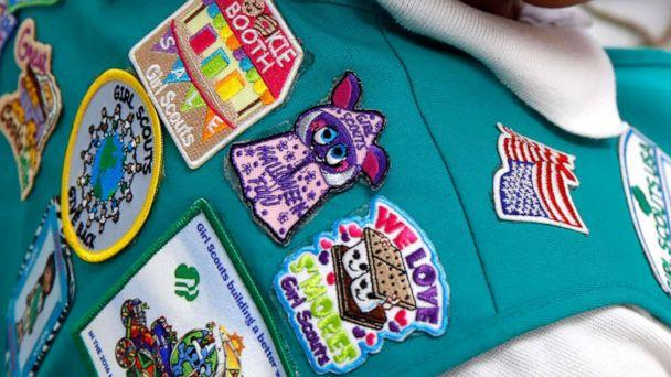 PHOTO: In this July 21, 2017, photo, badges are seen on the vest of a member of the Girl Scouts as she participates in an activity introducing the world of robotics in Owings Mills, Md. (Patrick Semansky/AP, FILE)