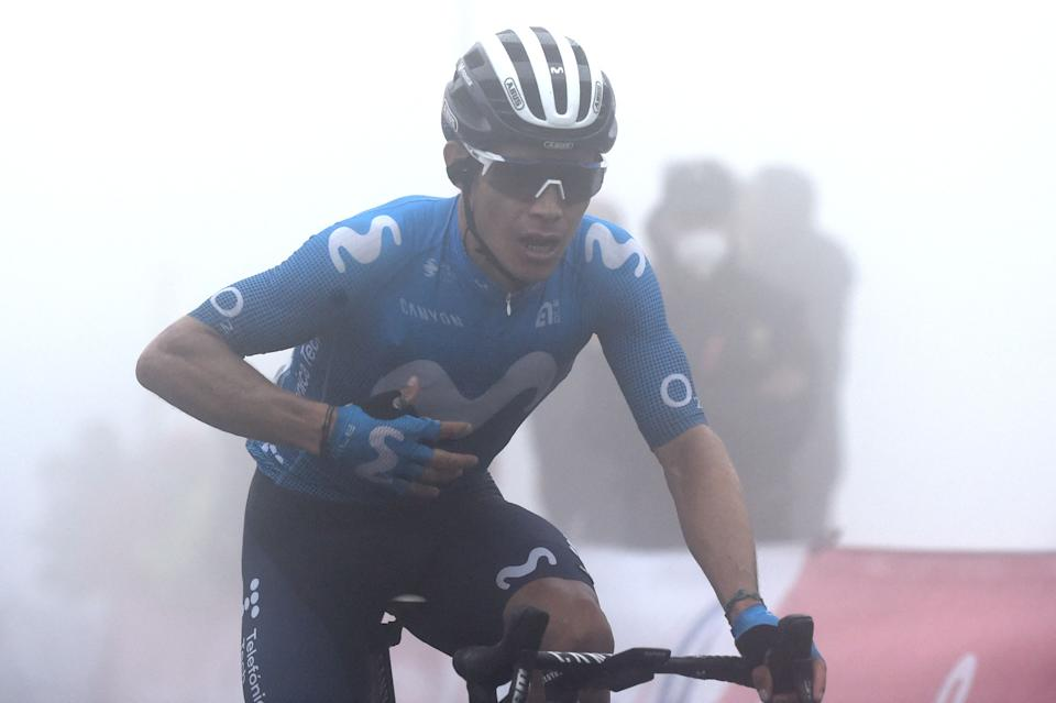 Team Movistar's Colombian rider Miguel Angel Lopez celebrates as he wins the 18th stage of the 2021 La Vuelta cycling tour of Spain, a 162.6 km race from Salas to Altu d'El Gamoniteiru in Pola de Lena, on September 2, 2021. (Photo by MIGUEL RIOPA / AFP) (Photo by MIGUEL RIOPA/AFP via Getty Images)