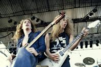 """<p>This thrash metal band took hard rock to the next level with fast beats and aggressive instrumentals. Formed in 1981 in Los Angeles, Danish drummer Lars Ulrich found James Hetfield and Dave Mustaine by putting ads in a paper. They brought in bassist Ron McGovney for their first live performance in 1982, but quickly replaced him with Cliff Burton, and Mustaine was ousted as well because of drug and alcohol abuse (he later went on to form Megadeth) and was replaced by guitarist Kirk Hammett. All that was before they released their first hit record """"Ride the Lightning"""" and their mega popular """"Master of Puppets."""" While on tour in 1986, Burton was killed in a bus accident. Eventually they replaced him with Jason Newsted, who recorded """"... And Justice for All,"""" which earned them a Grammy nod, but no win,. but earned them mainstream success with the song """"One.""""</p>"""