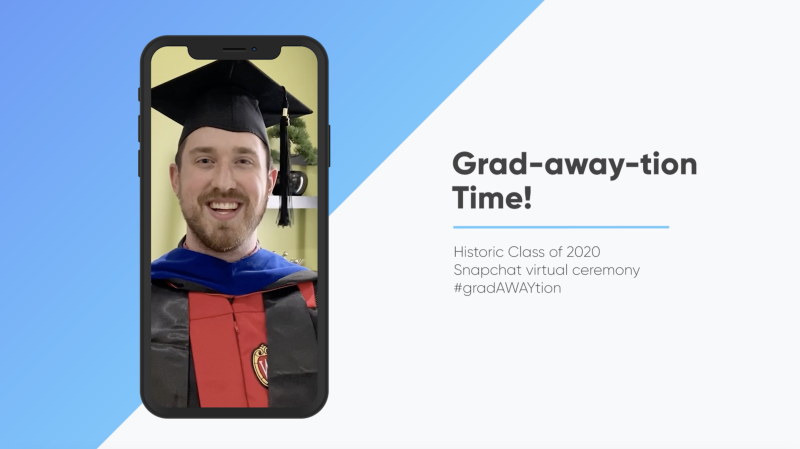 StageClip also allows students to upload videos using SnapChat filters that make them appear as if they are wearing a cap and gown. (StageClip)