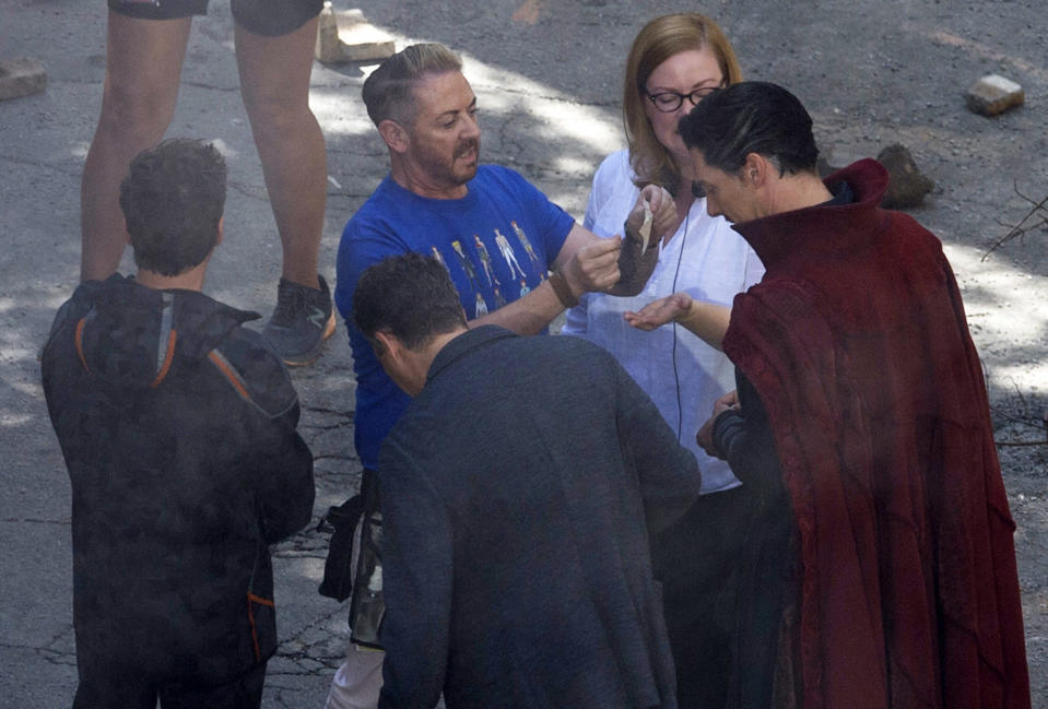 "<p>Cast members Benedict Cumberbatch, foreground from right, Mark Ruffalo, Robert Downey Jr., appear on the set during filming of ""Avengers: Infinity War,"" Monday, June 26, 2017, in Atlanta. The film is expected in theaters in May 2018. (AP Photo/Mike Stewart) </p>"