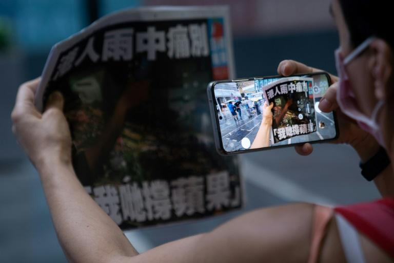 Hong Kong's pro-democracy newspaper Apple Daily was forced to cease operations in June (AFP/Bertha WANG)