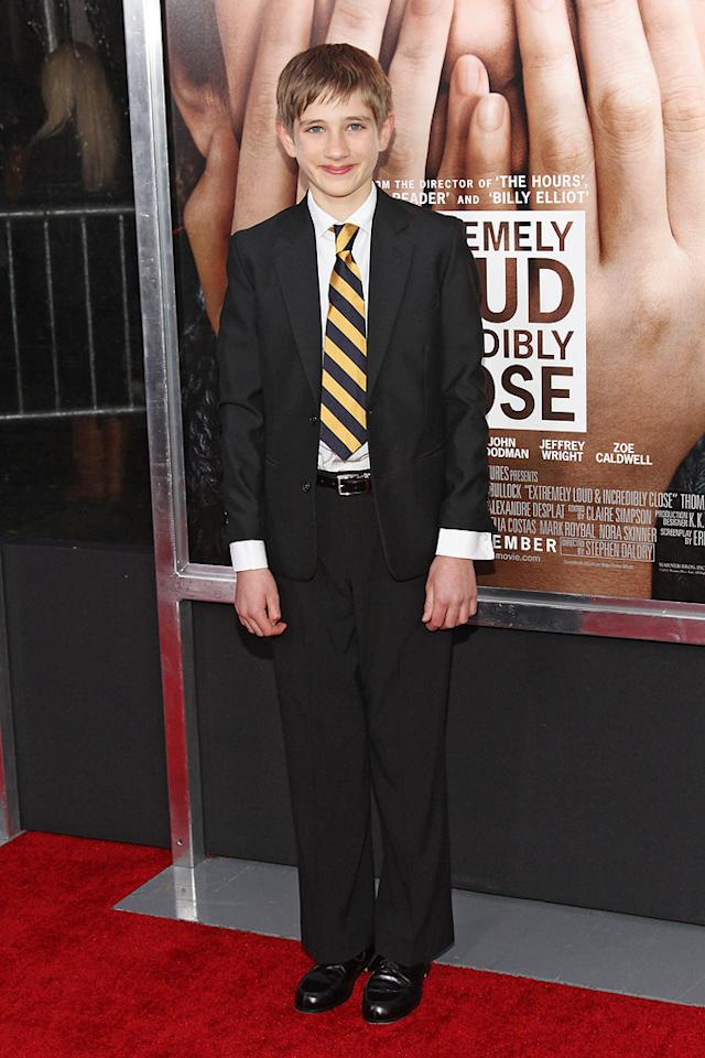 """<a href=""""http://movies.yahoo.com/movie/contributor/1810192806"""">Thomas Horn</a> at the New York City premiere of <a href=""""http://movies.yahoo.com/movie/1810196550/info"""">Extremely Loud and Incredibly Close</a> on December 15, 2011."""