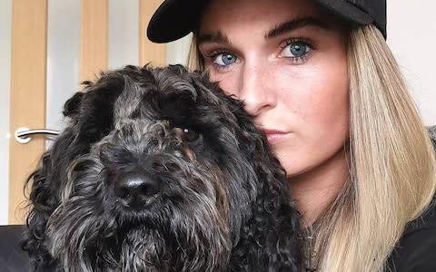<span>Melissa with her dog, Toby</span> <span>Credit: Twitter </span>