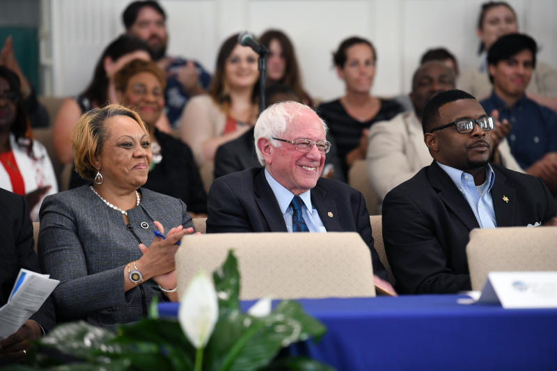 Sen. Bernie Sanders takes the stage ahead of a town hall with black lawmakers on Thursday, April 18, 2019, in Spartanburg, S.C. Ahead of the event, Sanders announced 2020 campaign endorsements from seven black South Carolina lawmakers, a show of force in state where black voters comprise more most of the Democratic primary electorate. (AP Photo/Meg Kinnard)