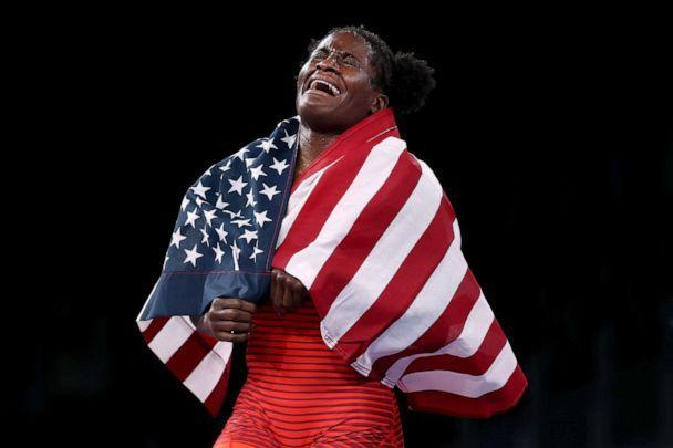 PHOTO: Tamyra Mariama Mensah-Stock of Team United States celebrates defeating Blessing Oborududu of Team Nigeria during the Women's Freestyle 68kg Gold Medal Match on day eleven of the Tokyo 2020 Olympic Games on August 03, 2021 in Chiba, Japan. (Tom Pennington/Getty Images)