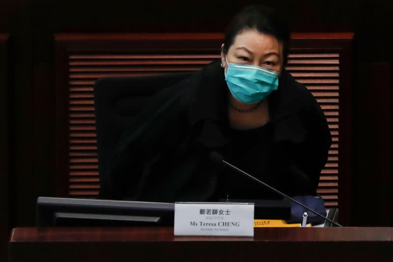 FILE PHOTO: Secretary for Justice Teresa Cheng Yeuk-wah attends a meeting to debate national security law at Legislative Council, in Hong Kong