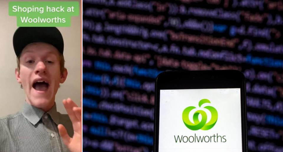 Liam Kirley in the video (left) Woolworths app (right). Source: TikTok/@woolworths_au (left), Getty Images (right)