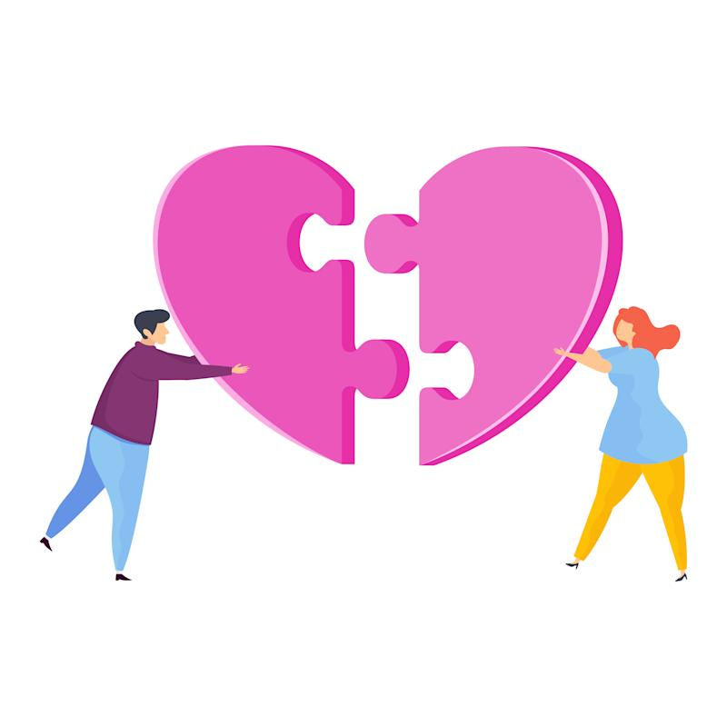 Man and a woman assemble huge jigsaw puzzle in shape of a heart. Metaphor of love, reciprocity and understanding. Greeting card for Valentine's Day. Flat vector illustration.