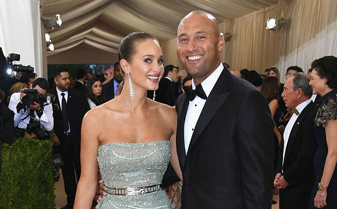 NEW YORK, NY - MAY 02: Hannah Davis (L) and Derek Jeter attend the