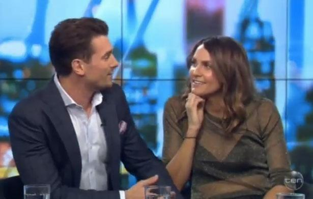 Appearing on The Project on Friday night in what was their first televised interview, the cute couple admitted they checked each other out, and that Laura had recognised Matty from his stint on The Bachelorette last year. Source: Channel Ten