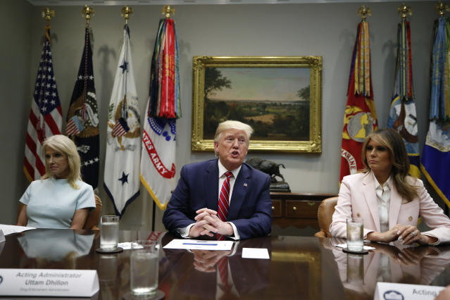 President Donald Trump, Melania Trump, Kellyanne Conway, and others attend a briefing on efforts to combat the opioid crisis on Wednesday, June 12, 2019, in Washington. (Photo: AP Photo/Alex Brandon)