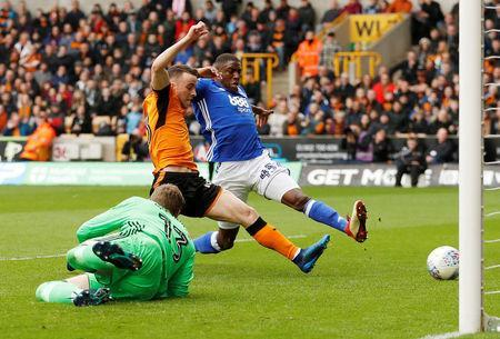Soccer Football - Championship - Wolverhampton Wanderers vs Birmingham City - Molineux Stadium, Wolverhampton, Britain - April 15, 2018 Wolverhampton Wanderers' Diogo Jota scores their first goal Action Images via Reuters/Andrew Boyers