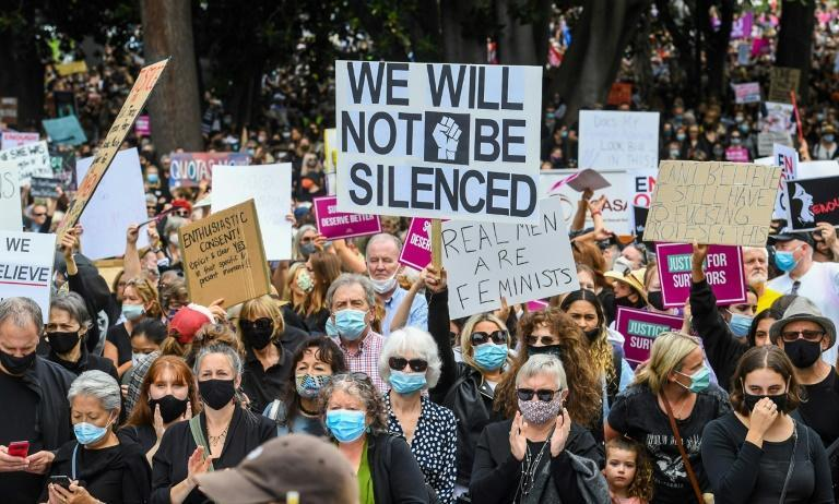 Tens of thousands hvae taken to the streets as outrage grows over rape allegations that have convulsed Australia's conservative government