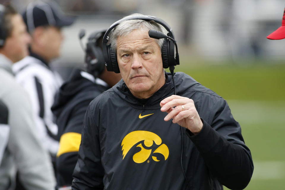 EVANSTON, ILLINOIS - OCTOBER 26: Head coach Kirk Ferentz of the Iowa Hawkeyes on the sidelines in the game against the Northwestern Wildcatsat Ryan Field on October 26, 2019 in Evanston, Illinois. (Photo by Justin Casterline/Getty Images)