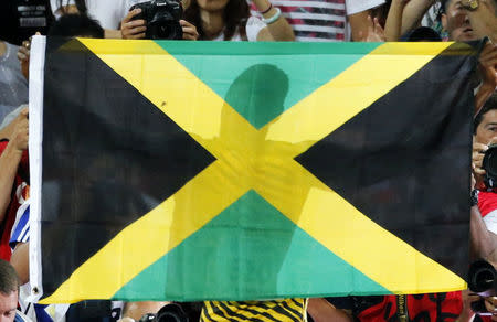 FILE PHOTO: The shadow of Jamaica's Usain Bolt is seen on the flag as he celebrates winning the men's 100 metres final during the 15th IAAF World Championships at the National Stadium in Beijing, China August 23, 2015. REUTERS/Fabrizio Bensch