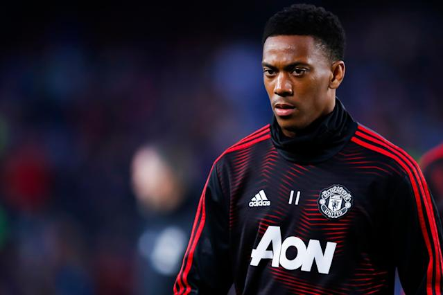 Anthony Martial during the warm up of UEFA Champions League Quarter Final second leg match between FC Barcelona and Manchester United (Photo by Eric Alonso/MB Media/Getty Images)