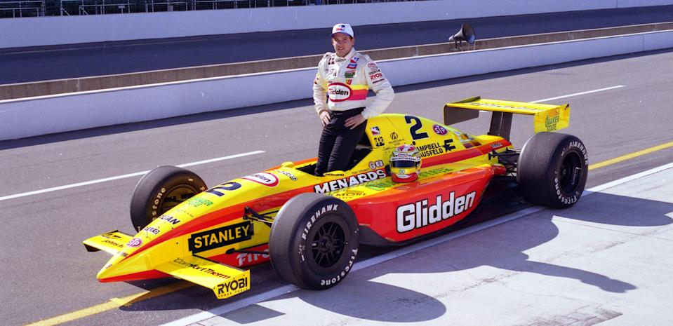 <em>Tony Stewart, shown here before the 1997 Indy 500, drove for John Menard full time in the IRL from 1996-98 before moving to NASCAR (IndyCar).</em>
