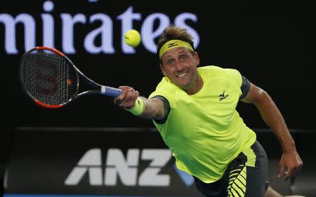 Tennis - Australian Open - Margaret Court Arena, Melbourne, Australia, January 18, 2018. Tennys Sandgren of the U.S. in action during his match against Switzerland's Stan Wawrinka. REUTERS/Toru Hanai