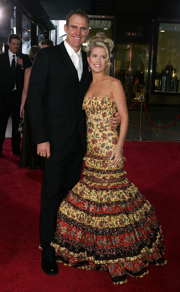 MELBOURNE, AUSTRALIA - FEBRUARY 26:  Matthew Hayden and wife Kellie Hayden arrive at  the 2008 Allan Border Medal at Crown Casino on February 26, 2008 in Melbourne, Australia.  (Photo by Lucas Dawson/Getty Images)