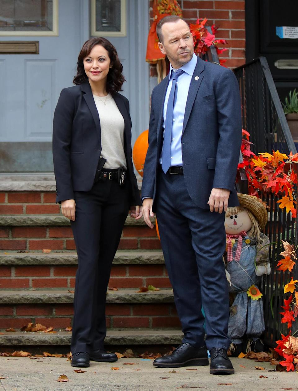 <p>Marisa Ramirez and Donnie Wahlberg are seen on the set of <em>Blue Bloods</em> on Friday in N.Y.C.</p>