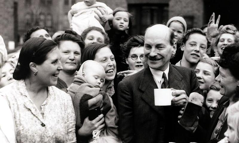 Clement Attlee as deputy prime minister on the campaign trail in Limehouse, 1945
