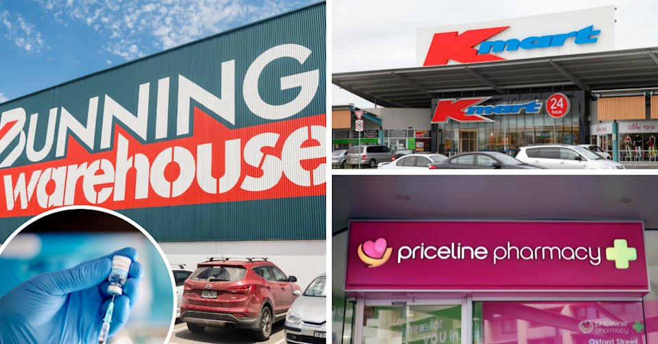Bunnings, Kmart and Priceline stores and a doctor preparing a covid vaccine