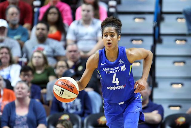 "Dallas Wings guard <a class=""link rapid-noclick-resp"" href=""/wnba/players/5059/"" data-ylk=""slk:Skylar Diggins-Smith"">Skylar Diggins-Smith</a> tweeted that mothers in the WNBA deserve more respect. (Photo by M. Anthony Nesmith/Icon Sportswire via Getty Images)"