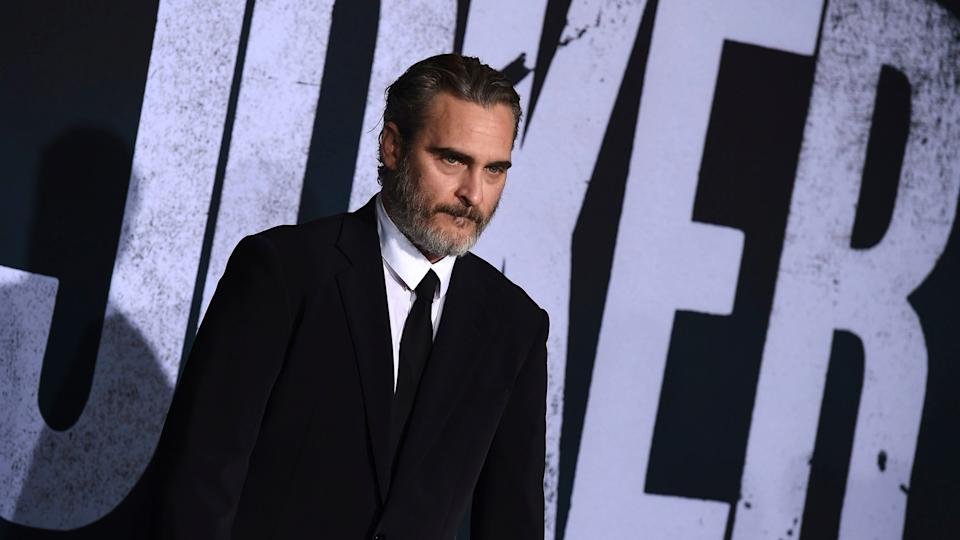 """Mandatory Credit: Photo by Jordan Strauss/Invision/AP/Shutterstock (10429479b)Joaquin Phoenix arrives at the Los Angeles premiere of """"Joker"""" at TCL Chinese Theatre onLA Premiere of """"Joker"""", Los Angeles, USA - 28 Sep 2019."""