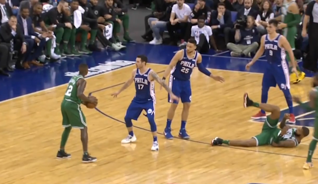 "<a class=""link rapid-noclick-resp"" href=""/nba/players/5600/"" data-ylk=""slk:Ben Simmons"">Ben Simmons</a> lays out shoulder charge on Celtics opponent."