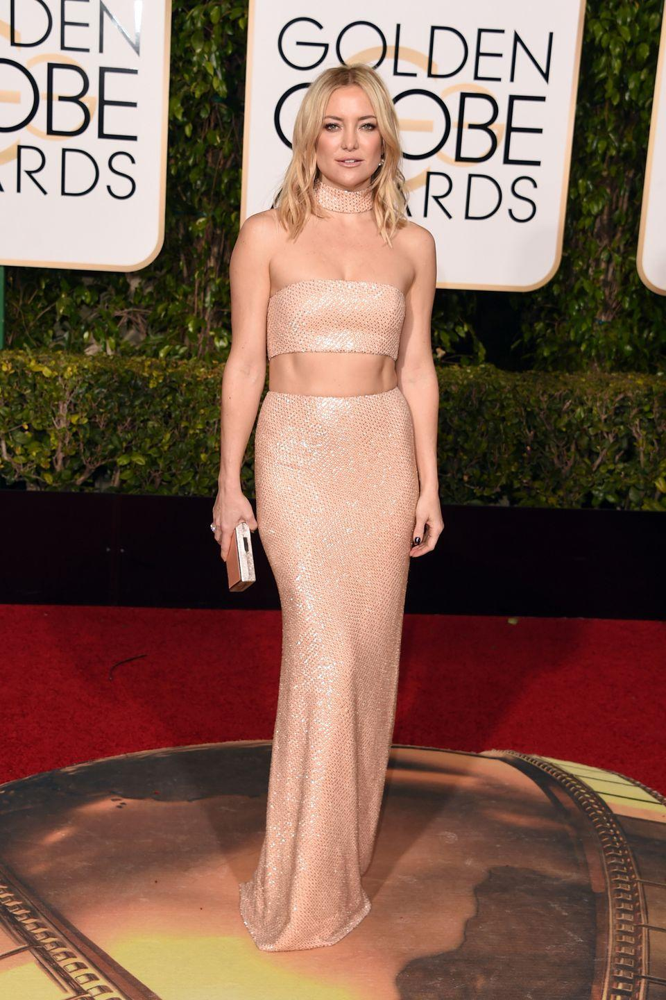 <p>Hudson skipped the gown in 2016, and instead went for a sexy midriff-baring two-piece by Calvin Klein Collection and matching choker.</p>