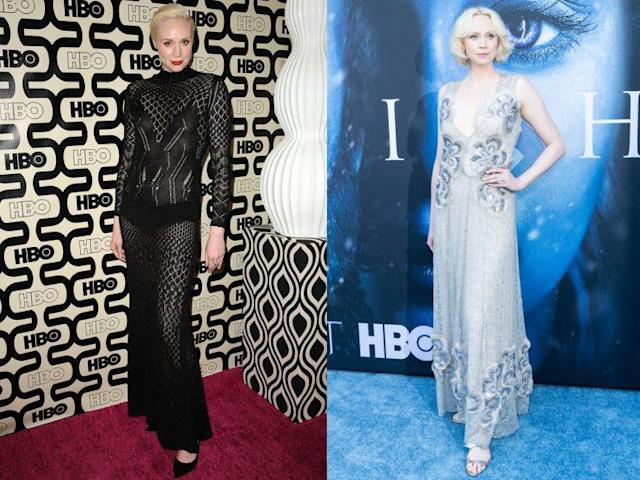 Gwendoline Christie, who plays Brienne of Tarth on HBO's <em>Game of Thrones</em>, is the show's most underrated style star. Here, a look at Christie in 2013, left, and2017. (Photo: Getty Images)