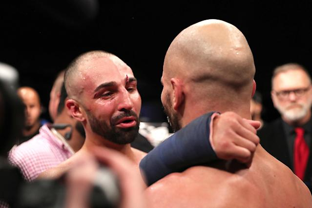 Paulie Malignaggi (L) and Artem Lobov exchange pleasantries after the Bare Knuckle Fighting Championships at Florida State Fairgrounds Entertainment Hall on June 22, 2019 in Tampa, Florida. (Alex Menendez/Getty Images)
