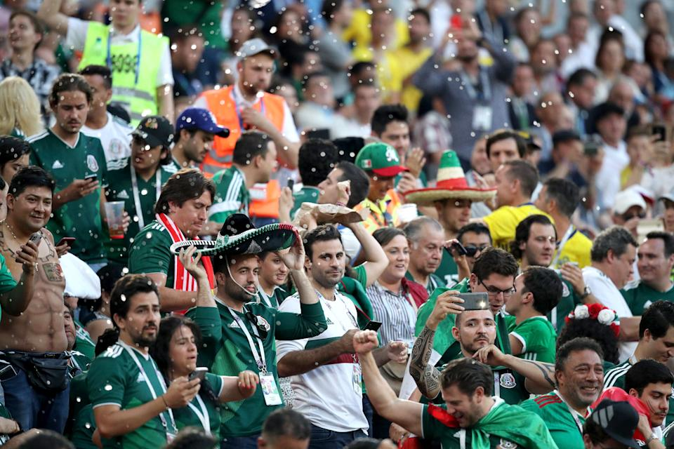 YEKATERINBURG, RUSSIA - JUNE 27, 2018: Mexico's fans root for their team in the 2018 FIFA World Cup First Stage Group F football match against Sweden at Ekaterinburg Arena Stadium. Sergei Bobylev/TASS (Photo by Sergei Bobylev\TASS via Getty Images)