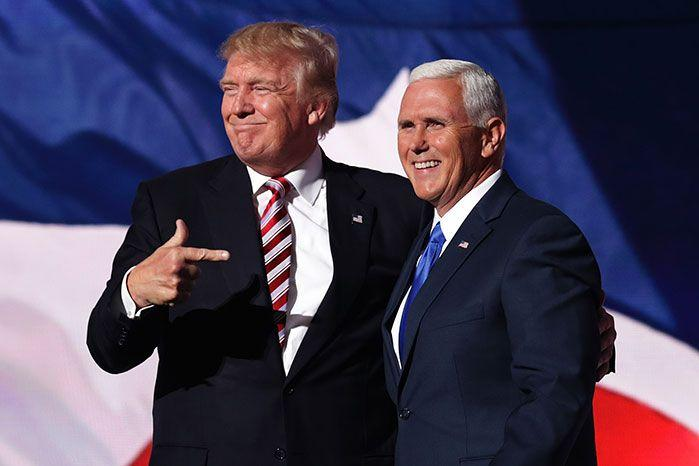Donald Trump with his running made and Vice President-elect Mike Pence. Image: Getty