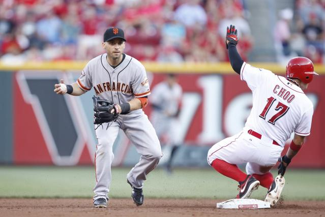 CINCINNATI, OH - JULY 2: Marco Scutaro #19 of the San Francisco Giants takes the throw at second base ahead of the slide by Shin-Soo Choo #17 of the Cincinnati Reds during the game at Great American Ball Park on July 2, 2013 in Cincinnati, Ohio. (Photo by Joe Robbins/Getty Images)
