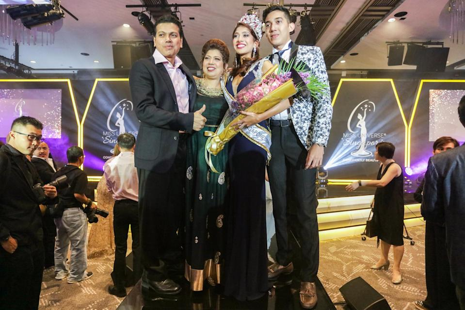 <p>Miss Universe Singapore 2018 winner Zahra Khanum (3rd from left) with her uncle, mother and brother at the Miss Universe Singapore Grand Finale at One Farrer Hotel on 31 August 2018. (PHOTO: Don Wong for Yahoo Lifestyle Singapore) </p>