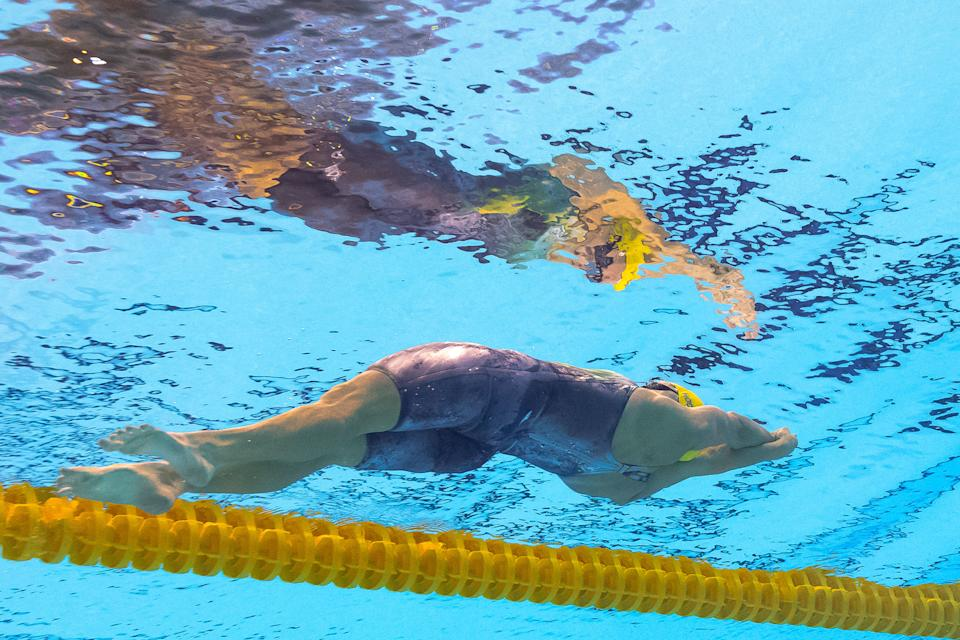 Australia's Belinda Hocking competes in the Women's 200m Backstroke heat during the swimming event at the Rio 2016 Olympic Games at the Olympic Aquatics Stadium in Rio de Janeiro on August 11, 2016.   / AFP / François-Xavier MARIT        (Photo credit should read FRANCOIS-XAVIER MARIT/AFP via Getty Images)