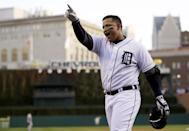 Detroit Tigers' Miguel Cabrera celebrates after hitting a two-run home run during the fourth inning of Game 4 of the American League championship series against the New York Yankees in Detroit on Oct. 18, 2012. Cabrera won the American League Most Valuable Player award on Thursday, Nov. 15, 2012. (AP Photo/Matt Slocum, File)