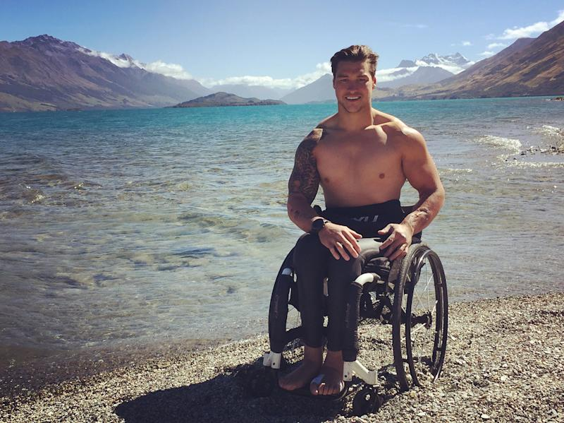 Robbie Peime is a personal trainer, motivational speaker, a triathlete and a paraplegic. Photo: Instagram/robbiepeime.