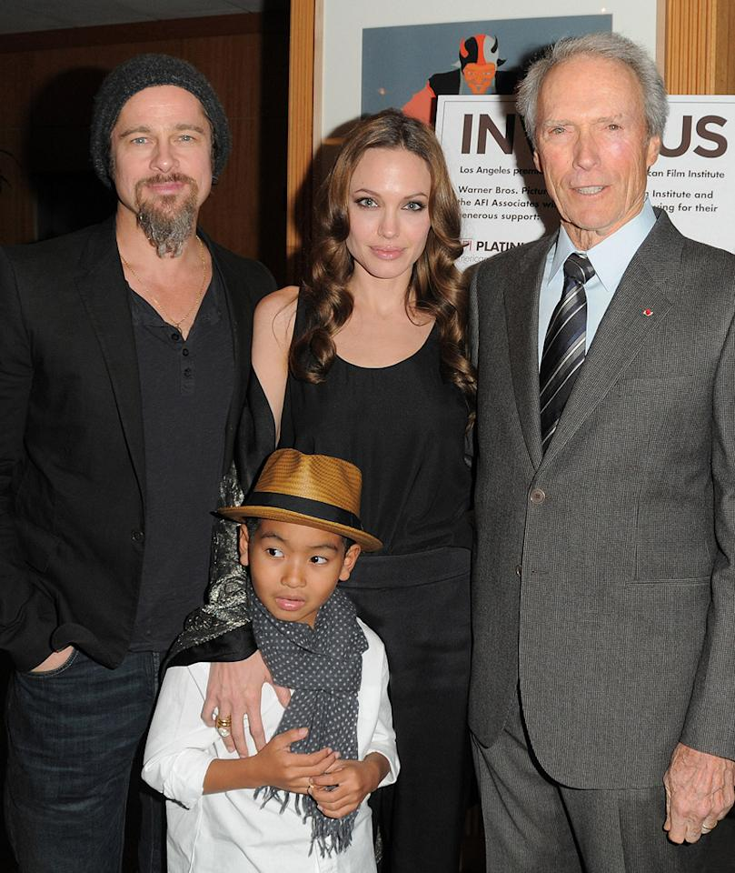 "<a href=""http://movies.yahoo.com/movie/contributor/1800018965"">Brad Pitt</a>, <a href=""http://movies.yahoo.com/movie/contributor/1800019275"">Angelina Jolie</a>, Maddox and <a href=""http://movies.yahoo.com/movie/contributor/1800019744"">Clint Eastwood</a> at the Los Angeles premiere of <a href=""http://movies.yahoo.com/movie/1810073710/info"">Invictus</a> - 12/03/2009"